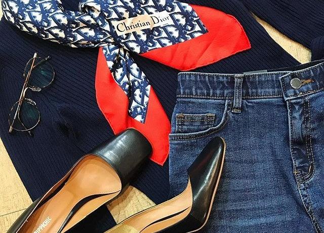Christian Diorのスカーフで大人スカーフコーデ_#スカーフ #chr