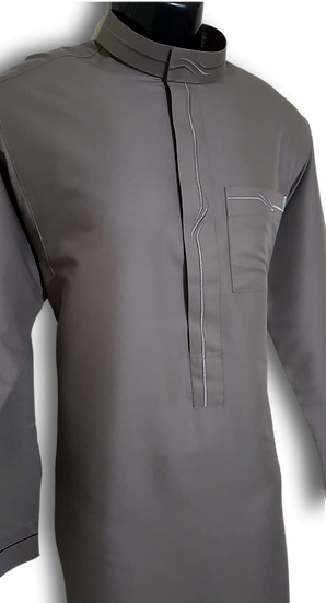 Nusuki Men's Taupe | Modern Embroidery