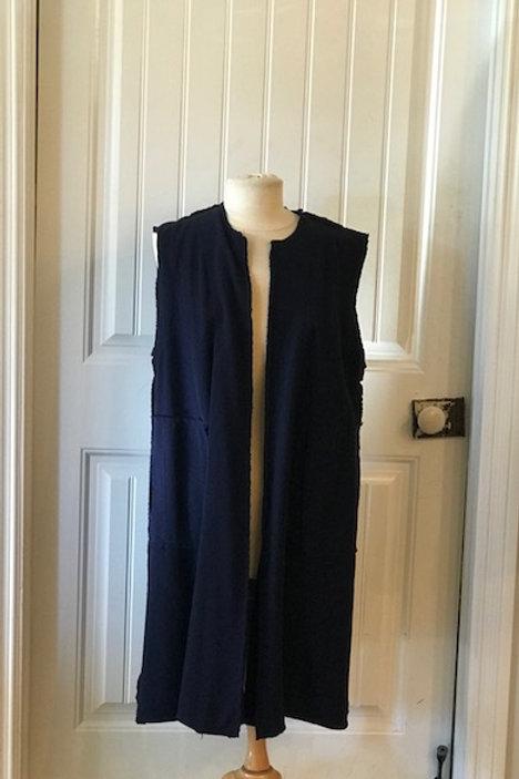 Eleven Stitch indigo long vest