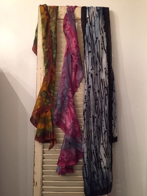 Hand painted silk scarves by Ursula Schroter