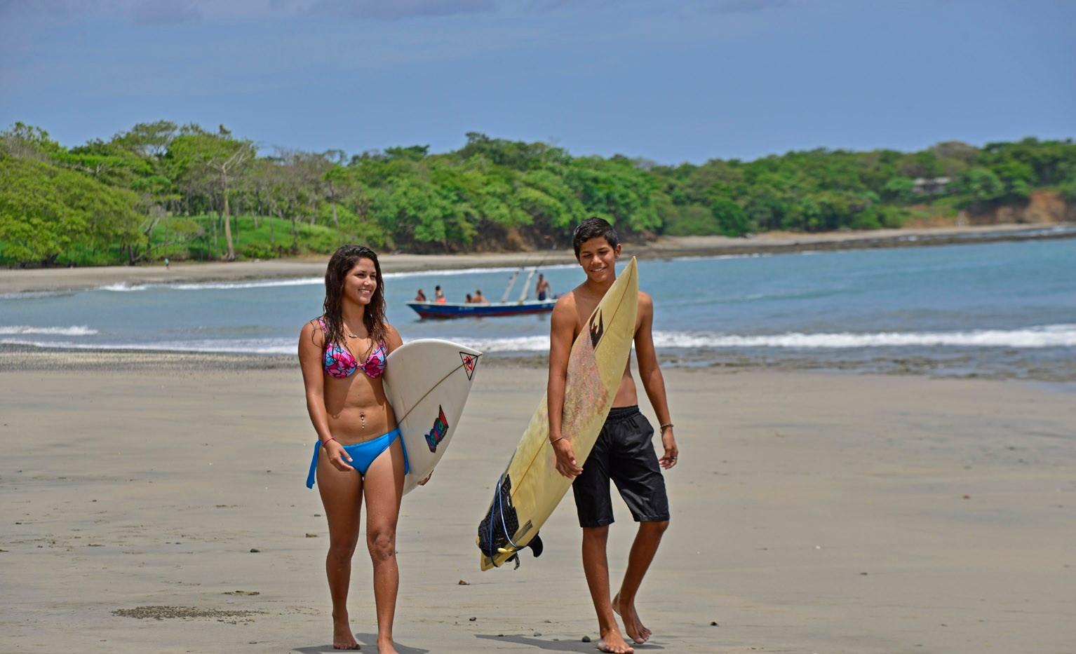 Surfing at Playa Lagarto.