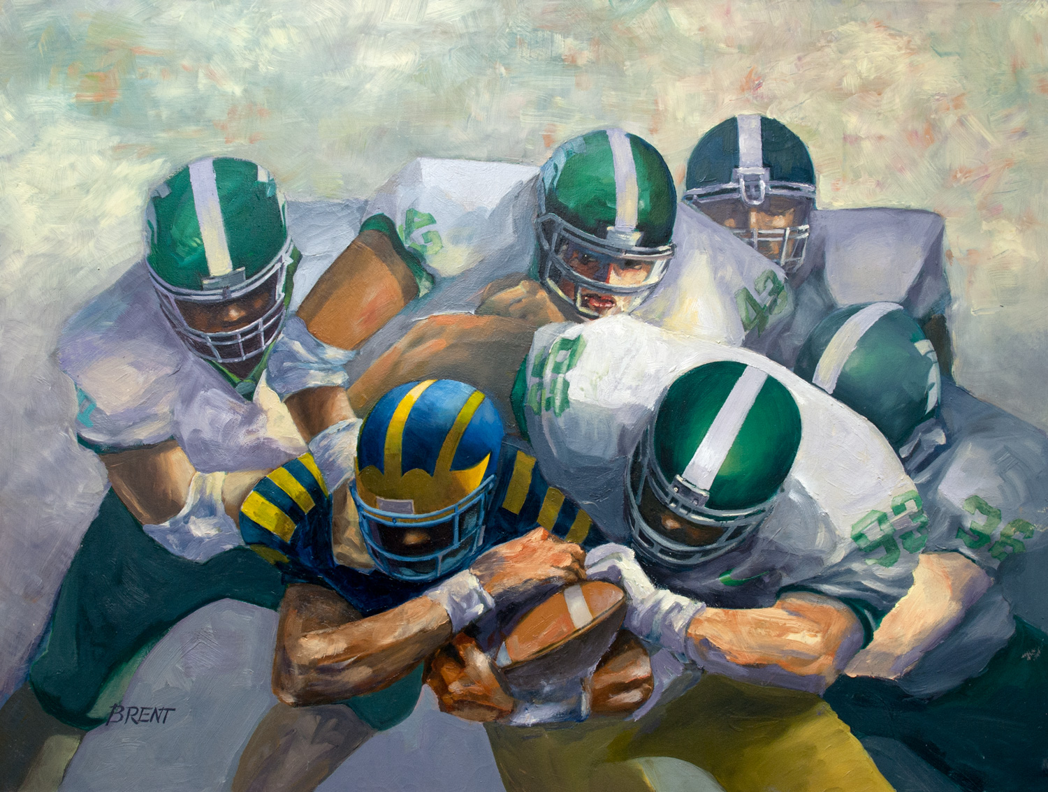 Tough Going Running Back (Painting - Oil On Canvas)