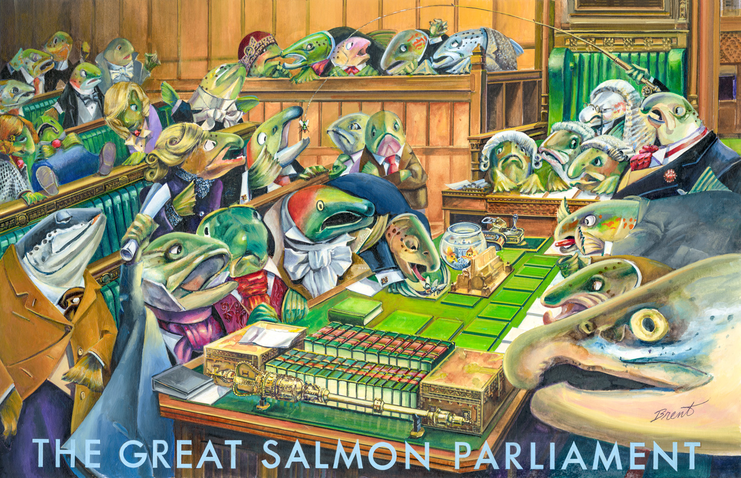 The Great Salmon Parliament (Painting - Oil On Board)