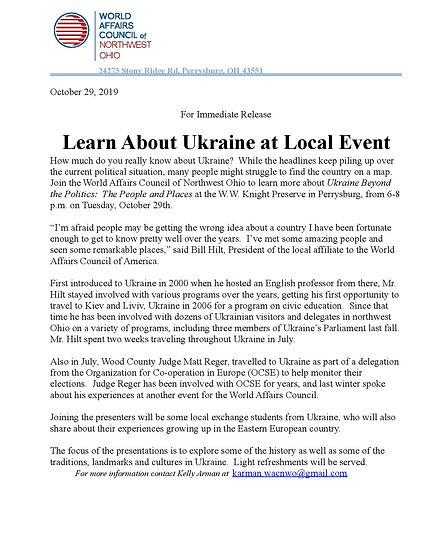 Press Release Ukraine Toledo Ohio
