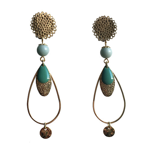 Boucles Goutte or turquoise