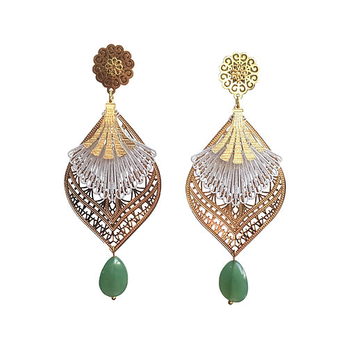 Boucles AD or goutte aventurine