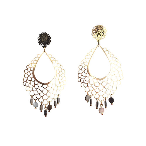 Boucles Toile or nacre
