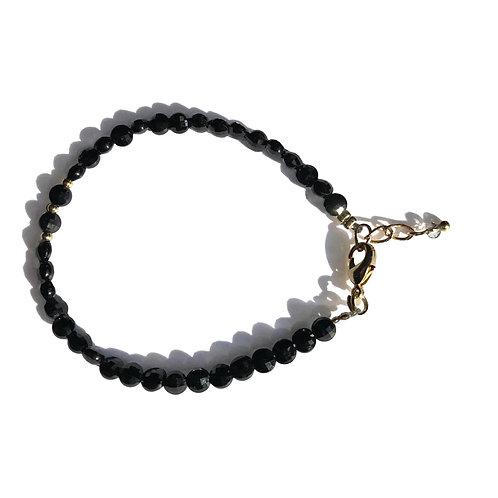 Bracelet Spinelle noir facettes