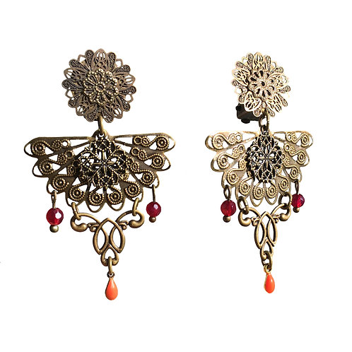 Boucles Art Nouveau éventail corail