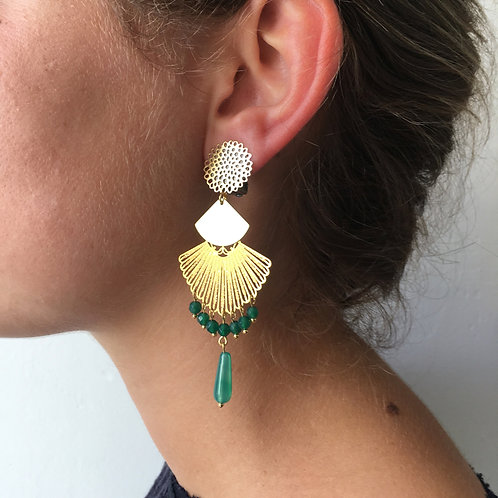 Boucles Eventail or agate verte