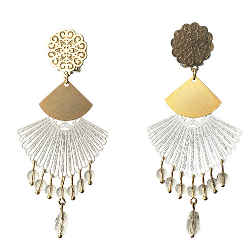Boucles Eventail or blanc