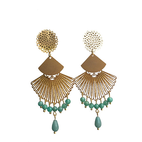 Boucles Eventail or amazonite