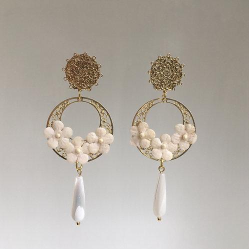 Boucles Fleurs or ivoire