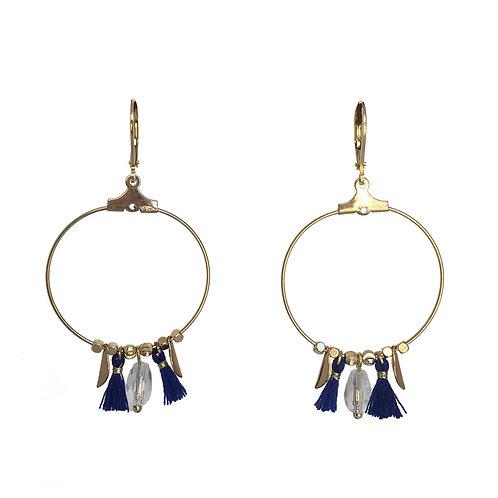 Boucles Créole pompon or bleu