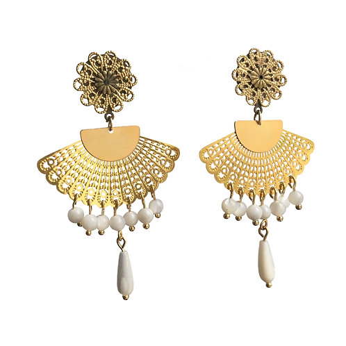 Boucles Eventail or et nacre