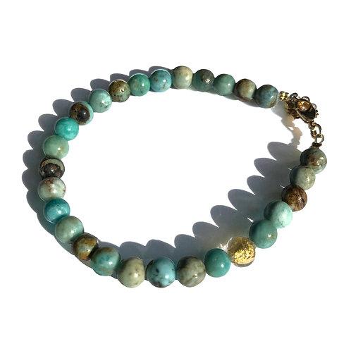 Bracelet Opale bleue Murano or