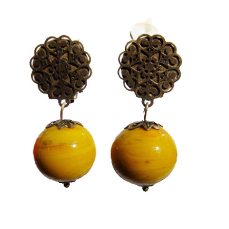 Boucles Murano moutarde