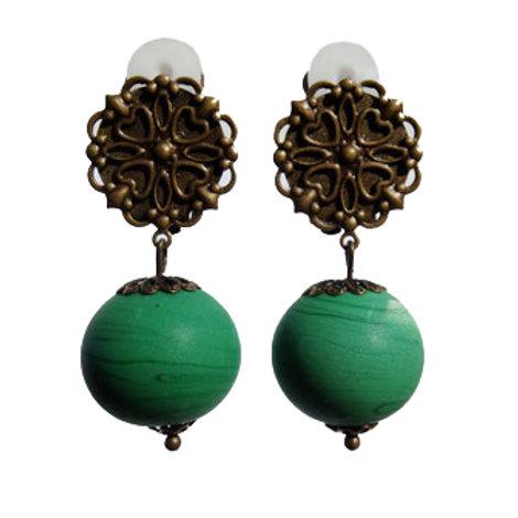 Boucles Murano vert mat