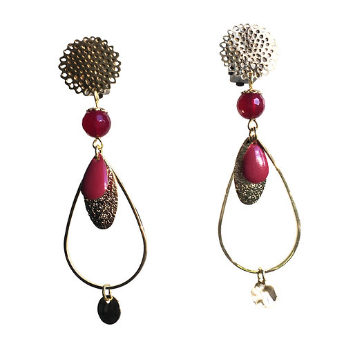 Boucles Goutte or framboise
