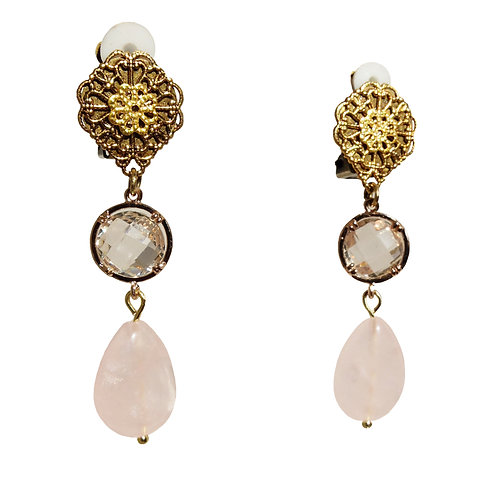 Boucles Victorienne goutte quartz rose