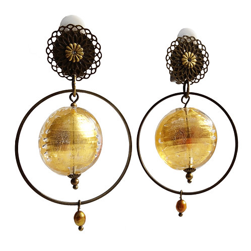 Boucles Galet Murano or