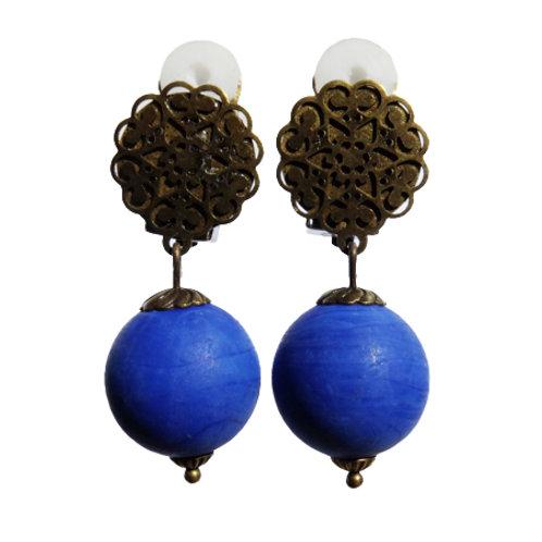 Boucles Murano bleu mat