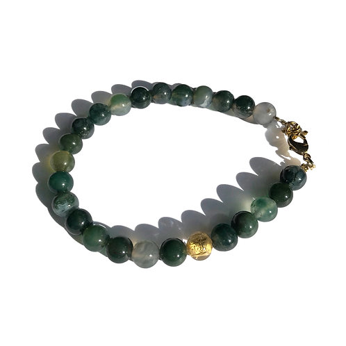 Bracelet Agate mousse Murano or