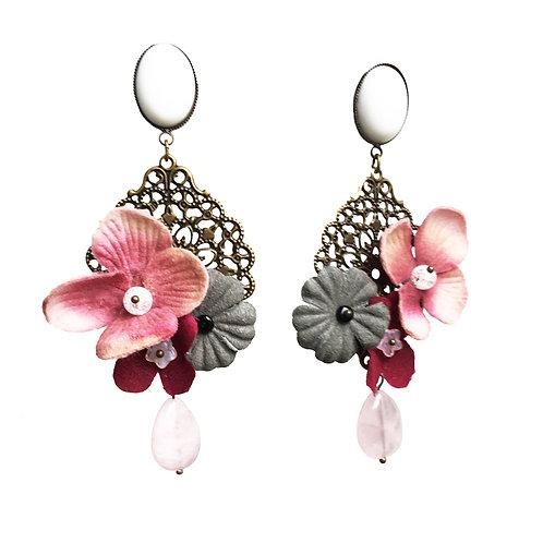 Boucles Fleurs rose