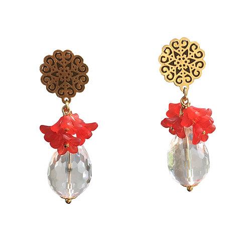 Boucles Bouquet goutte rouge