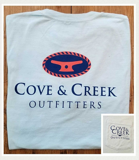 Sample Short Sleeve Cove & Creek Pocket Tee in Sky Blue with Navy/Coral