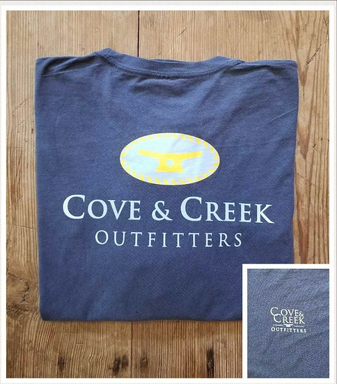 Long Sleeve Cove & Creek Tee in Indigo with Light Blue and Yellow
