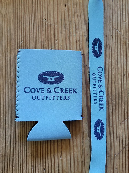 Cove & Creek Light Blue Can Holder-Sunglass Strap Combo with Navy