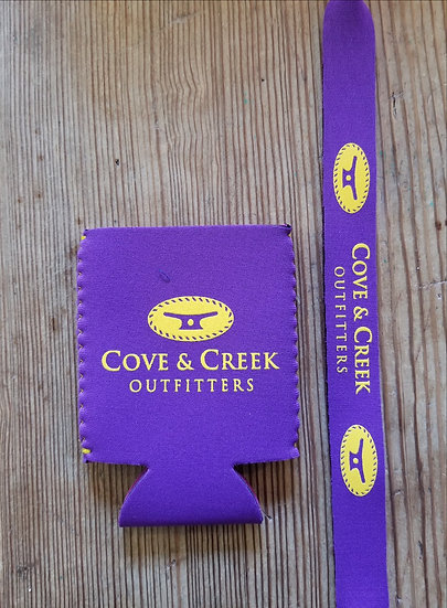 Cove & Creek Purple Can Holder-Sunglass Strap Combo with Yellow