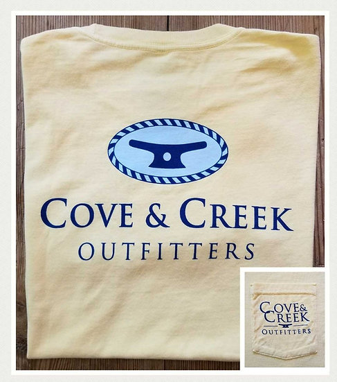 Sample Short Sleeve Cove & Creek Pocket Tee in Pineapple with Navy/Light Blue