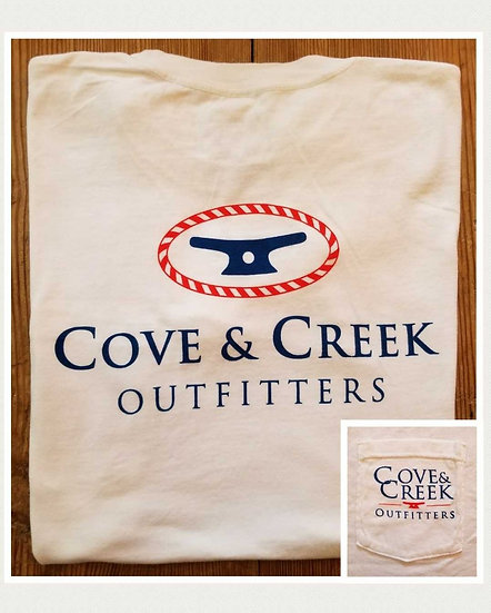 Sample Short Sleeve Cove & Creek Pocket Tee in White with Navy/Red