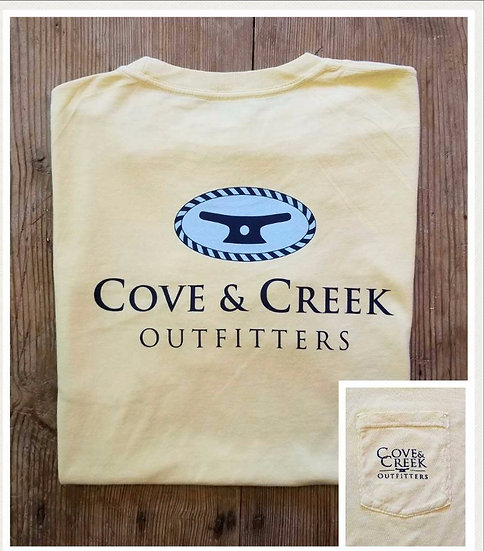 Short Sleeve Cove & Creek Pocket Tee in Pineapple with Navy and Light Blue