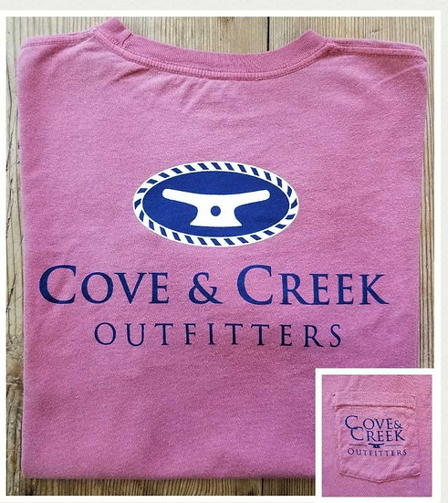 Sample Short Sleeve Cove & Creek Pocket Tee in Nantucket Red with Navy and White