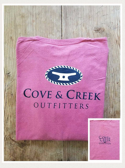 Long Sleeve Cove & Creek Tee in Nantucket Red with Navy and White