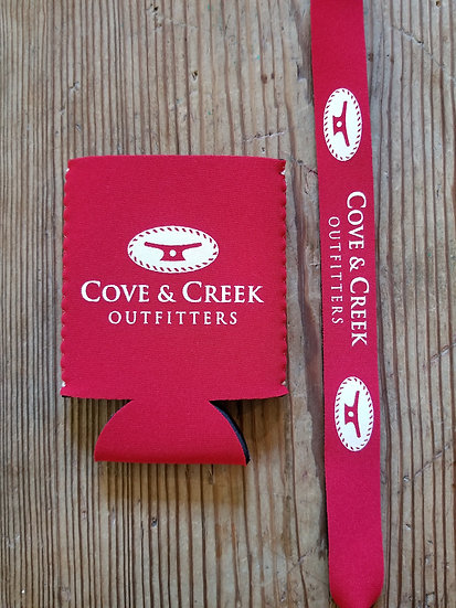 Cove & Creek Red Can Holder-Sunglass Strap Combo with White