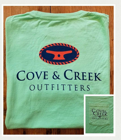 Sample Short Sleeve Cove & Creek Pocket Tee in Seafoam with Navy/Coral