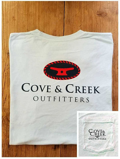 Short Sleeve Cove & Creek Pocket T-Shirt in Sky Blue with Navy and Red