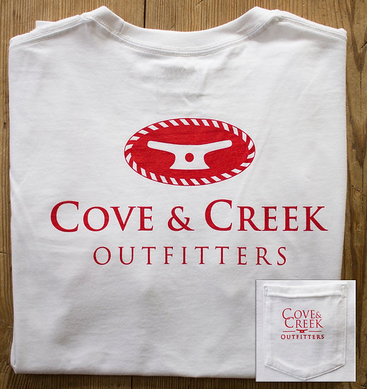 Short Sleeve Cove & Creek Pocket Tee in White with Red