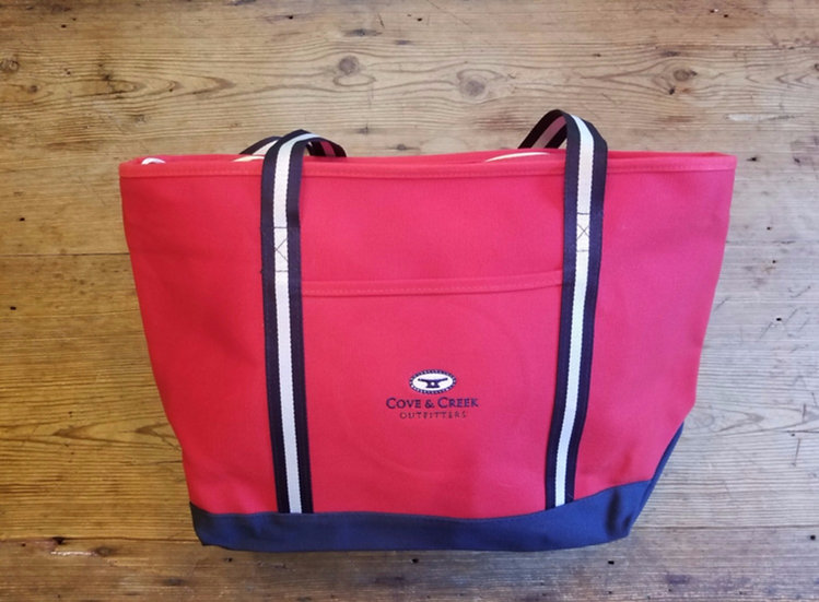 Large Marina Tote in Red with Navy and White