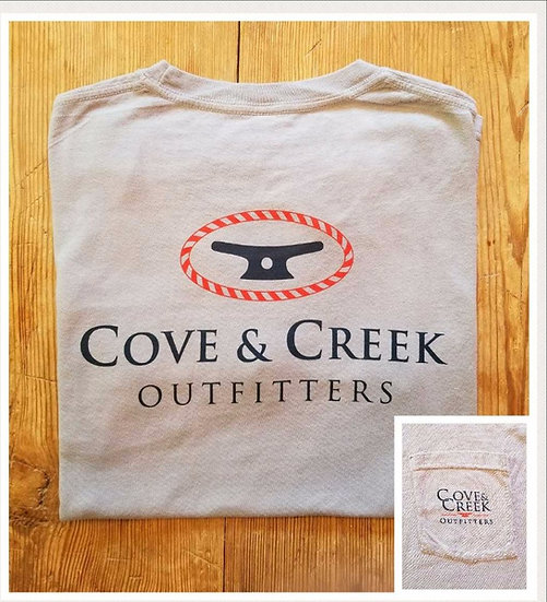 Short Sleeve Cove & Creek Pocket Tee in Slate with Navy and Red
