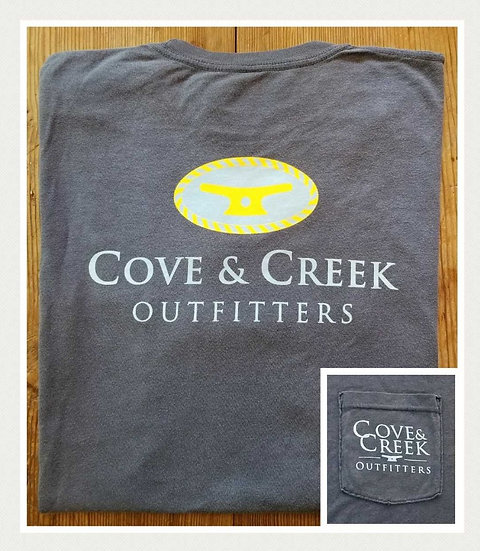 Sample Short Sleeve Cove & Creek Pocket Tee in Indigo with Light Blue/Yellow