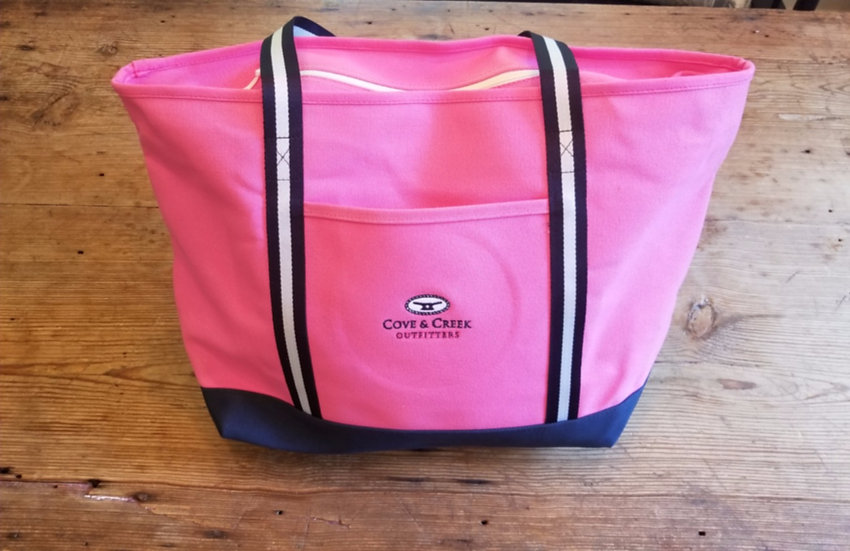 Large Marina Tote in Pink with Navy and White