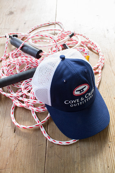 Cove & Creek Trucker Hat in Navy with Red, White and Blue