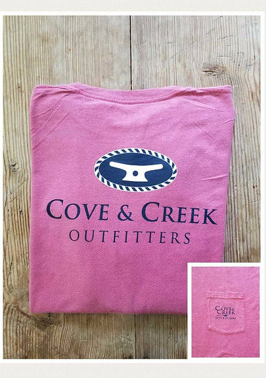 Short Sleeve Cove & Creek Pocket Tee in Nantucket Red with Navy and White