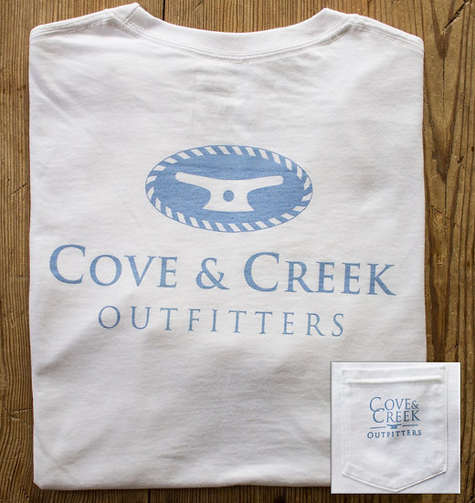 Short Sleeve Cove & Creek Pocket Tee in White with Light Blue