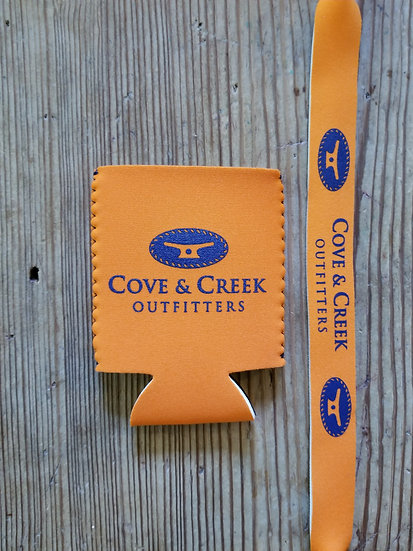 Cove & Creek Orange Can Holder-Sunglass Strap Combo with Navy